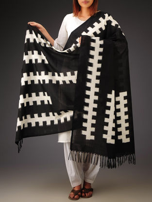 Black-White Double Ikat Cotton Dupatta