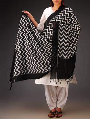 White-Black Double Ikat Cotton Dupatta