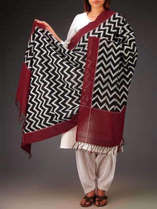 Black-Red-White Double Ikat Cotton Dupatta