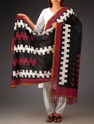 Black-White-Red Double Ikat Cotton Dupatta