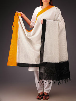 White-Black-Mustard Telia Design Double Ikat Cotton Dupatta