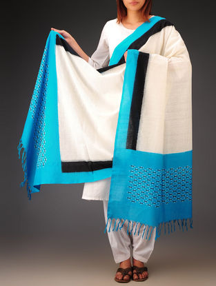 White-Sky Blue-Black Ikat Missing Stripes Cotton Dupatta