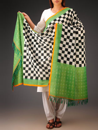 Black-White-Green Double Ikat Cotton Dupatta