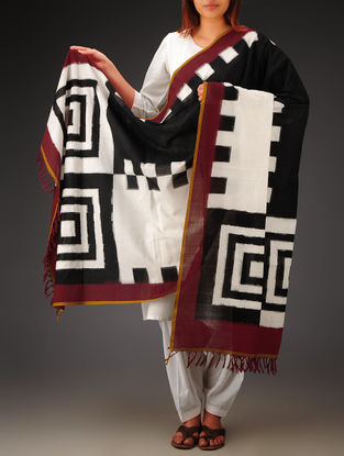 White-Black-Maroon Double Ikat Cotton Dupatta