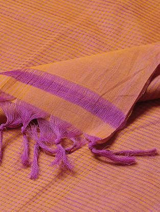 Orange-Pink Missing Checks Mangalgiri Cotton Dupatta