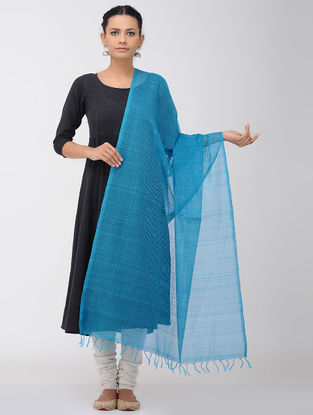 Blue Missing Checks Mangalgiri Cotton Dupatta