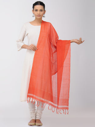 Red Missing Checks Mangalgiri Cotton Dupatta