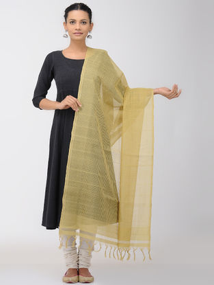 Ochre Missing Checks Mangalgiri Cotton Dupatta