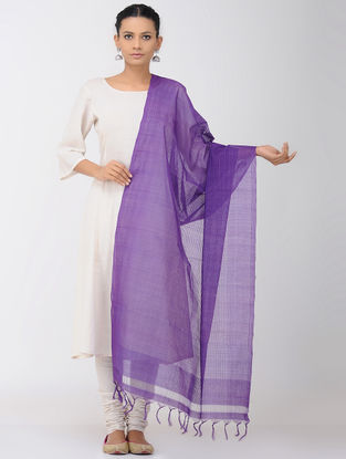 Purple Missing Checks Mangalgiri Cotton Dupatta