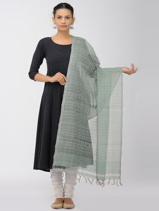 Green-Grey Missing Checks Mangalgiri Cotton Dupatta
