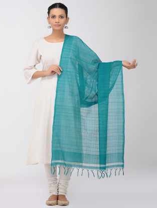 Sea Green Missing Checks Mangalgiri Cotton Dupatta