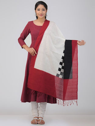Ivory-Red Double Ikat Cotton Dupatta