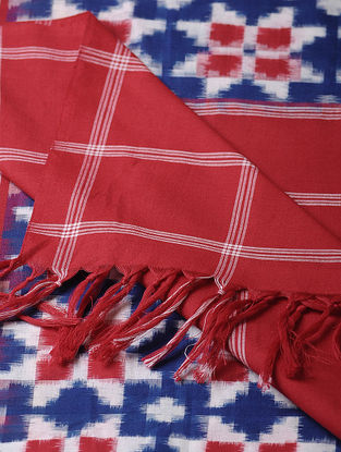 Blue-Red Double Ikat Cotton Dupatta