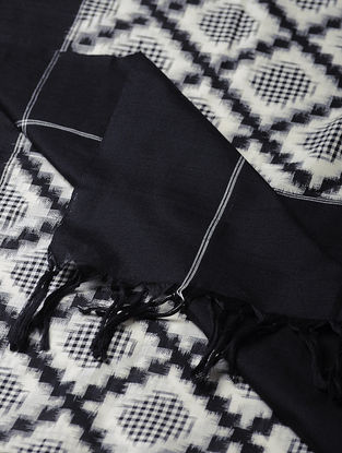 Ivory-Black Double Ikat Cotton Dupatta