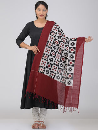 Ivory-Maroon Double Ikat Cotton Dupatta