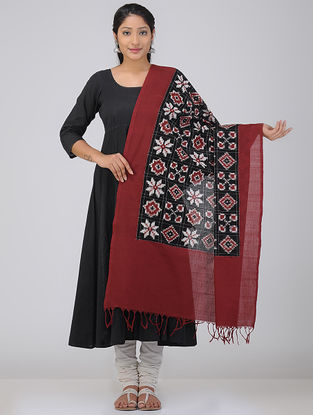 Black-Maroon Double Ikat Cotton Dupatta