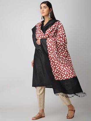 Red-Ivory Double Ikat Silk Dupatta