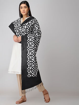 Ivory-Black Double Ikat Silk Dupatta