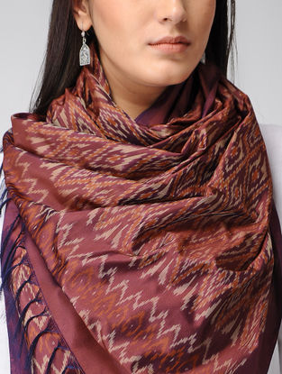 Maroon-Brown Ikat Silk Stole