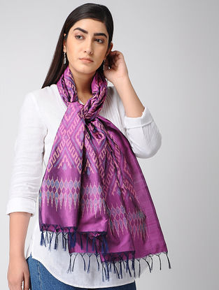 Purple-Blue Ikat Silk Stole