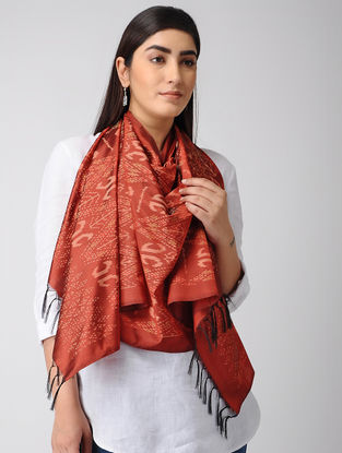 Red-Peach Ikat Silk Stole