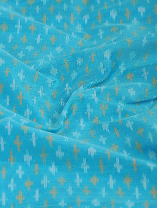 Blue-Ivory Ikat Cotton-Silk Fabric