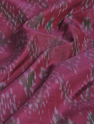 Pink-Black Ikat Cotton-Silk Fabric