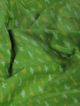 Green-Yellow Ikat Cotton-Silk Fabric