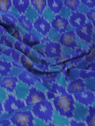 Blue-Green Ikat Cotton-Silk Fabric