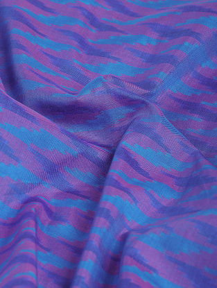 Blue-Pink Ikat Cotton-Silk Fabric