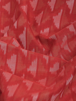 Red-Ivory Ikat Cotton-Silk Fabric