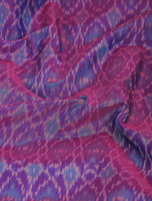 Purple-Blue Ikat Cotton-Silk Fabric