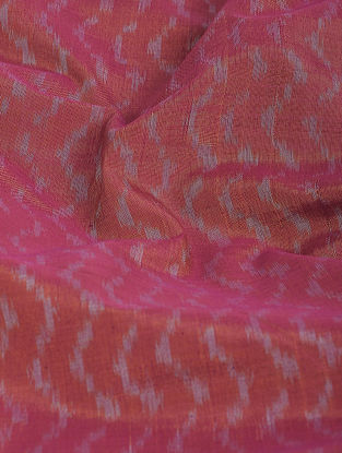 Maroon-Ivory Ikat Cotton-Silk Fabric