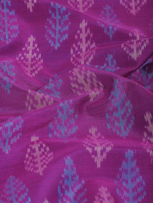 Magenta-Blue Ikat Cotton-Silk Fabric