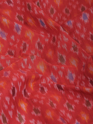 Red-Blue Ikat Cotton-Silk Fabric