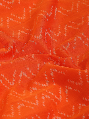 Orange-Ivory Ikat Cotton-Silk Fabric