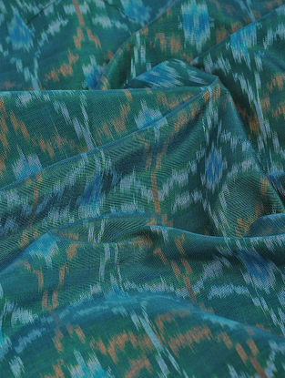 Green-Blue Ikat Cotton-Silk Fabric