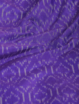 Purple-Ivory Ikat Cotton-Silk Fabric