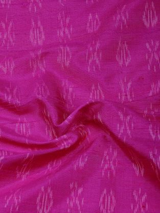 Pink-White Ikat Dupion Raw Silk Fabric