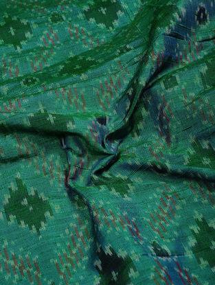 Green-Red Ikat Dupion Raw Silk Fabric