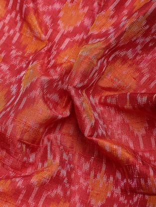 Red-Orange Ikat Dupion Raw Silk Fabric