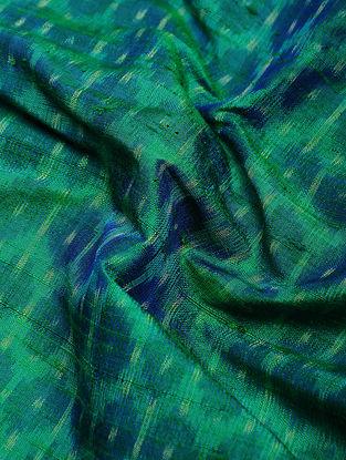 Blue-Green Ikat Dupion Raw Silk Fabric