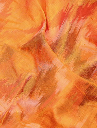 Orange-Yellow Ikat Dupion Raw Silk Fabric