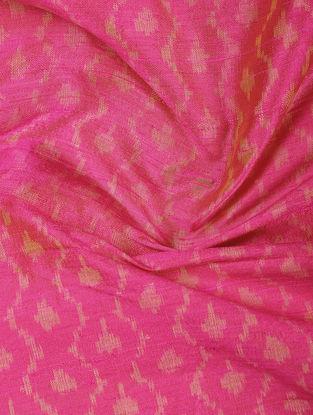 Pink-Beige Ikat Dupion Silk Fabric