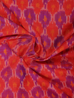 Red-Purple Ikat Dupion Silk Fabric