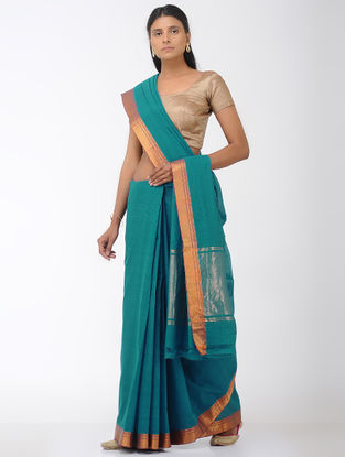 Sea-Green Mangalgiri Cotton Saree with Zari Border