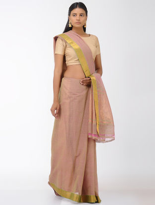 Pink-Beige Missing Checks Mangalgiri Cotton Saree with Zari Border
