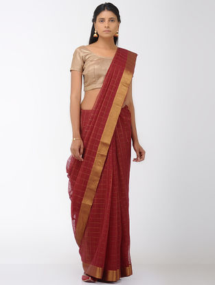 Maroon Missing Checks Mangalgiri Cotton Saree with Zari Border