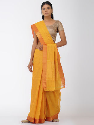 Yellow Missing Checks Mangalgiri Cotton Saree