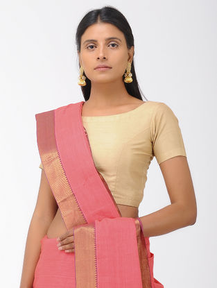 Pink Mangalgiri Cotton Saree with Zari Border